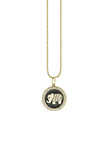 Elephant Enamel Medallion Necklace in Yellow Gold