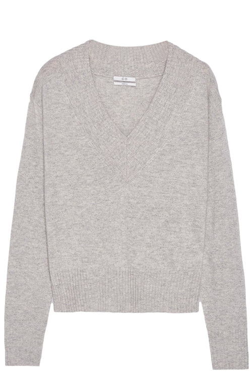 Cashmere Wide V-Neck Sweater in Light Grey