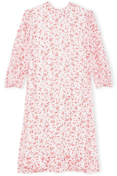 Printed Georgette 3/4 Sleeve Dress in Egret