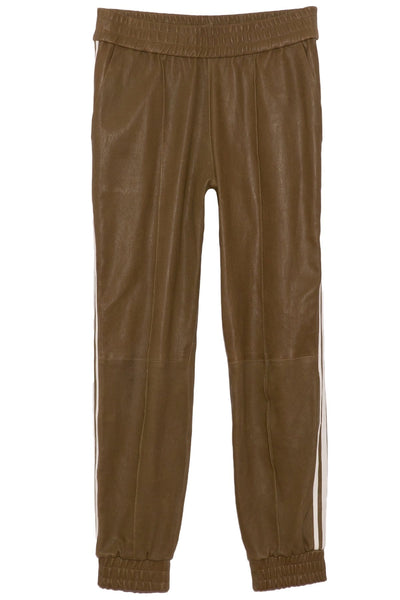 Athletic Slim Cuff Leather Jogger in Olive/White