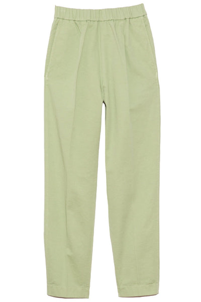 Cotton Gabardine Elasticated Pants in Mint