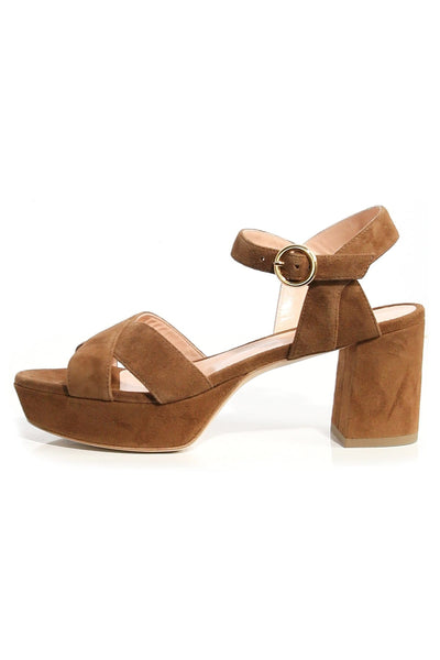 Deidre Suede Sandal in Mahogany