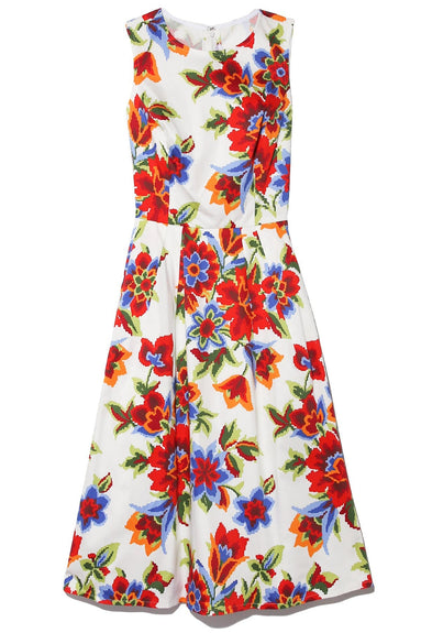Pixel Floral A-Line Dress in White Multi