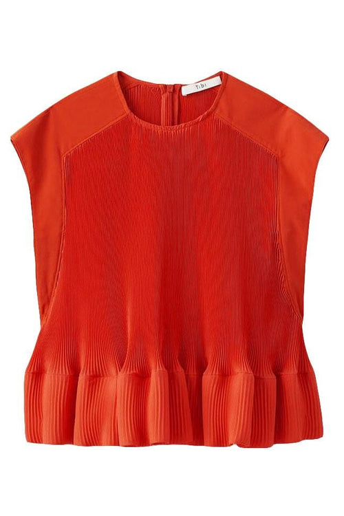 Pleating Yoke Pleated Top in Red Orange