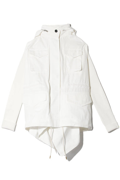 Fabric Combo Jacket in Off White