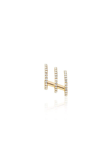 Left Diamond Triple Huggie Illusion Stud in Yellow Gold