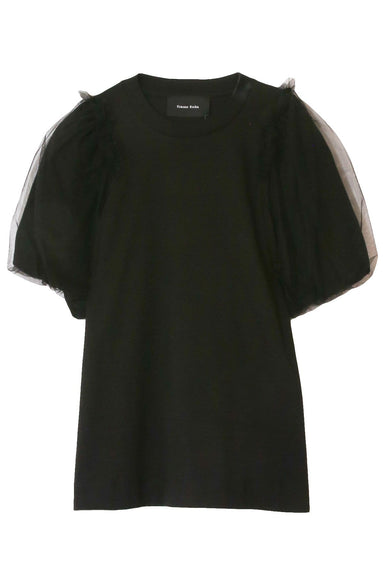 Inverted Puff Sleeve T-Shirt in Black