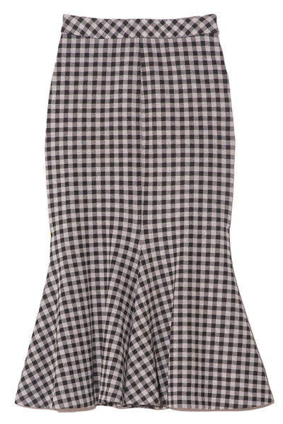 Gingham Fluted Skirt in Black/White