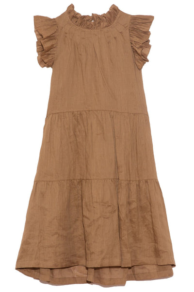 Hattie Ramie Tiered Tunic in Almond