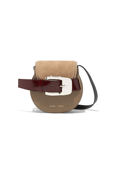 Buckle Mini Crossbody Bag in Light Taupe