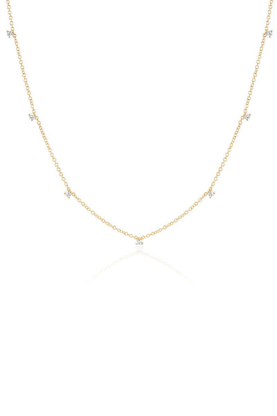 7 Prong Set Diamond Necklace in Yellow Gold