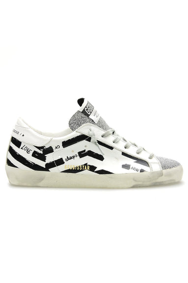 Superstar Sneaker in White/Silver/Black Flag