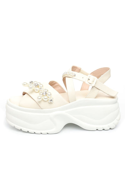 Platform Track Sole Embellished Sandals in Cream/Clear