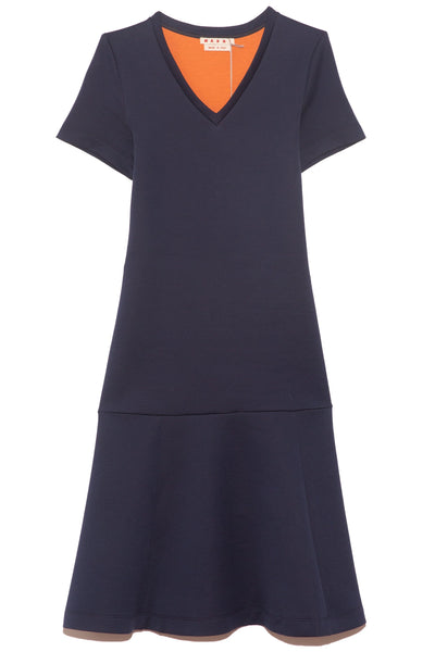 Short Sleeve Flounced Dress in Cornflower