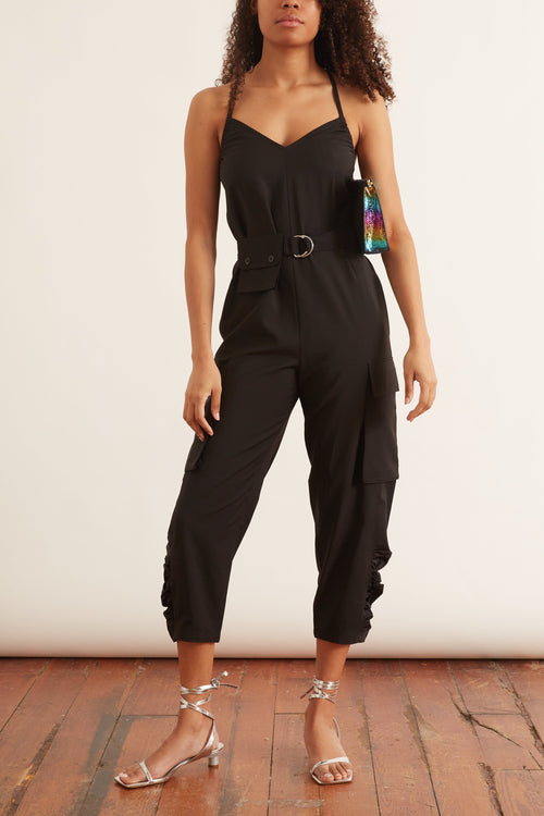 Tropical Wool Jumpsuit in Black