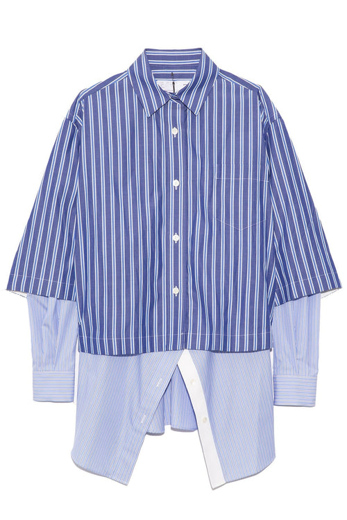 Cotton Poplin Stripe Double Shirt in Blue