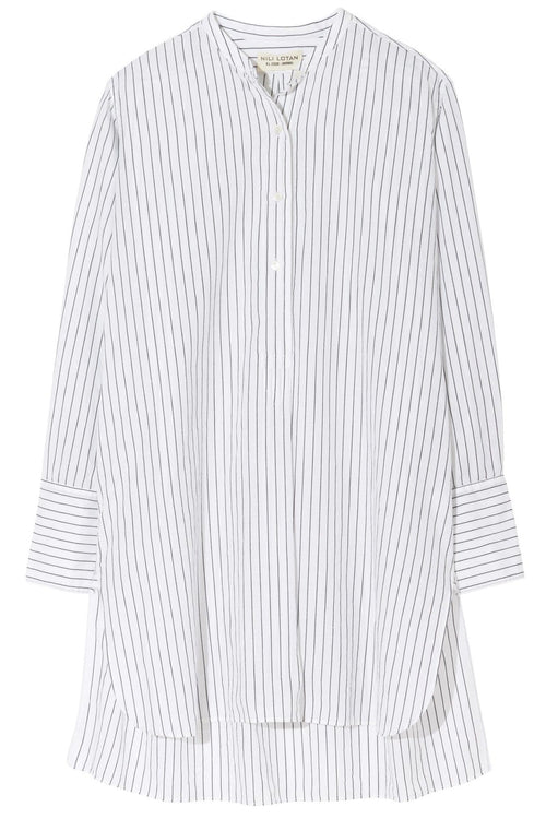 Loria Tunic Shirt in White/Black Stripe