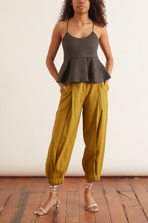 Wesson Linen Double Waisted Sculpted Pant in Tan Ochre