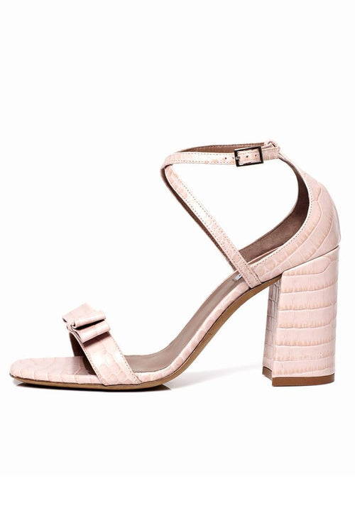 Hudson Bis Sandal in Light Pink Croco