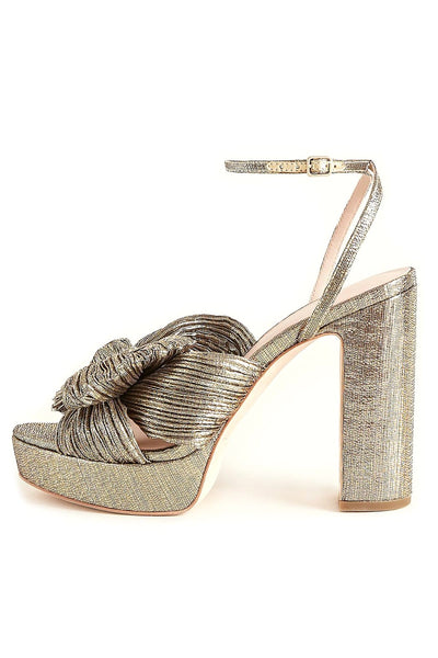 Natalia Pleated Platform Sandal in Gold