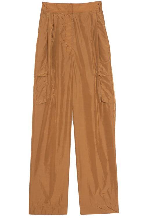 Nylon Pleated Cargo Pant in Brown Ochre