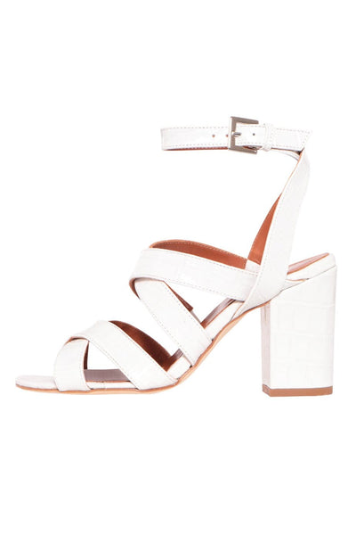 Moc Croco Strappy Sandals in White