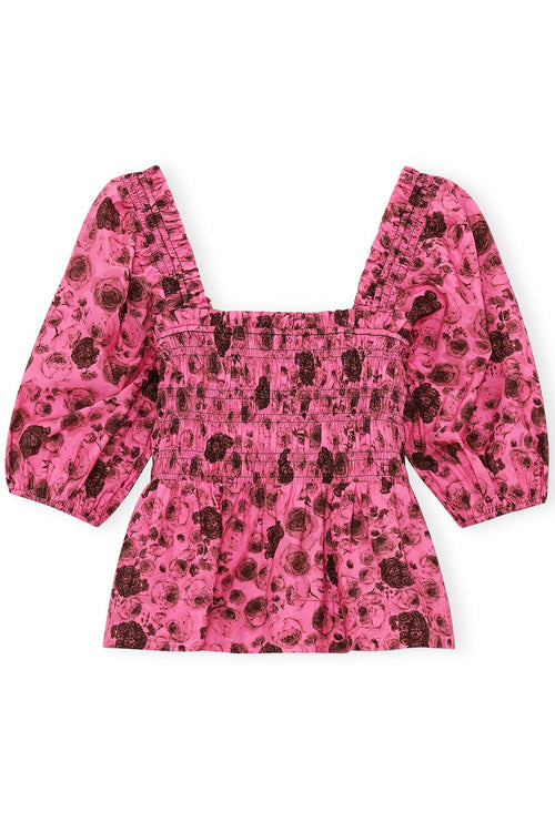 Printed Cotton Poplin Top in Shocking Pink