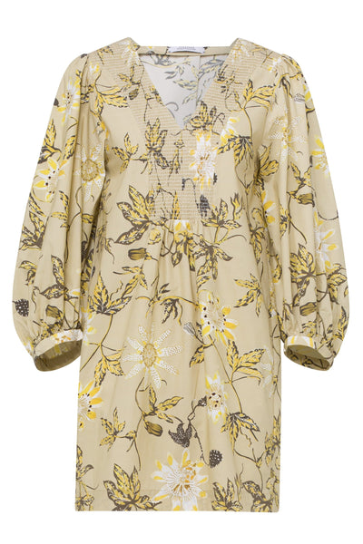 Delicate Florals Dress in Yellow Passiflora