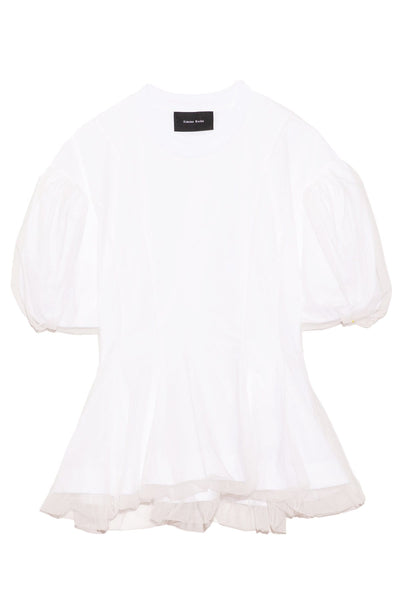 Tulle Overlay Sculpted Top in White