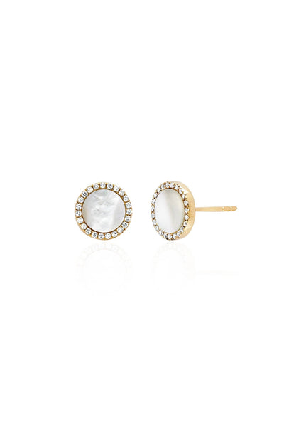 Mother of Pearl Disc Earring in Yellow Gold