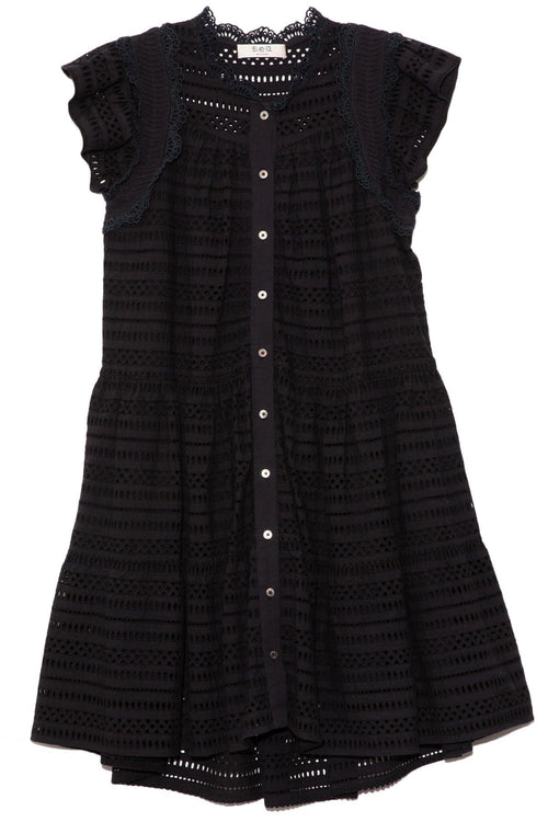 Lina Eyelet Short Sleeve Tiered Tunic in Black