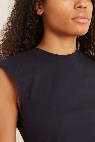 Sleeveless T-Shirt with Shoulder Pads in Navy