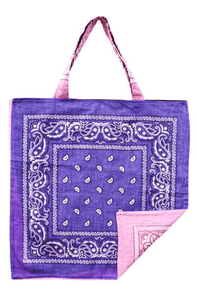 Bandana Beach Bag in Pink/Purple