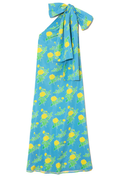 Winnie Taffeta Dress in Yellow Painted Rose on Blue
