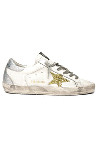 Superstar Sneaker in White Leather/Gold Glitter Star/Silver