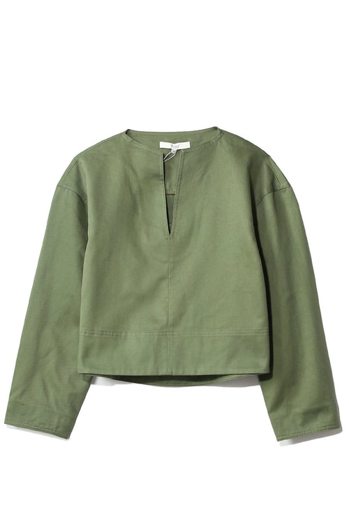 Harrison Chino Sculpted Split Neck Top in Army Green