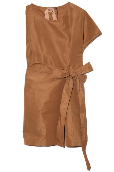 One Sleeve Faille Dress in Camel