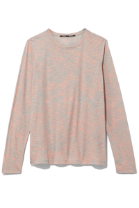 Long Sleeve Printed Tee in Pink/Grey Painted Palm