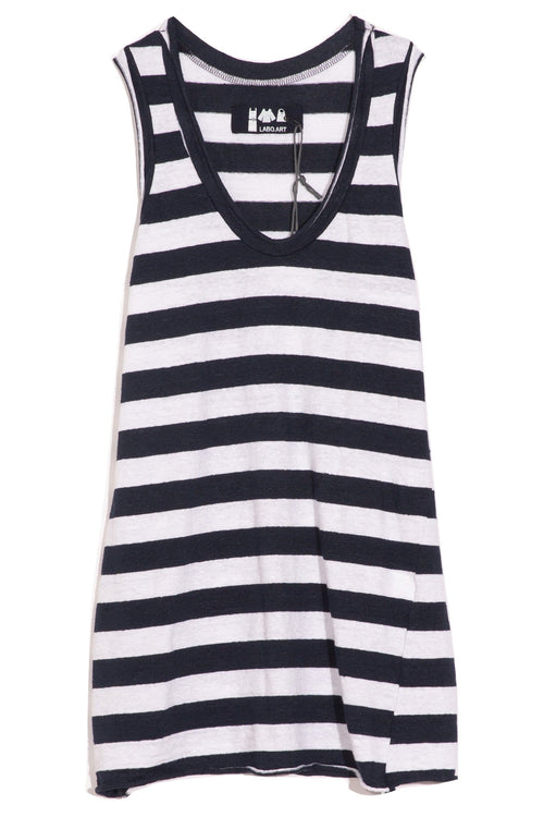 Tank Top in White/Atlantic
