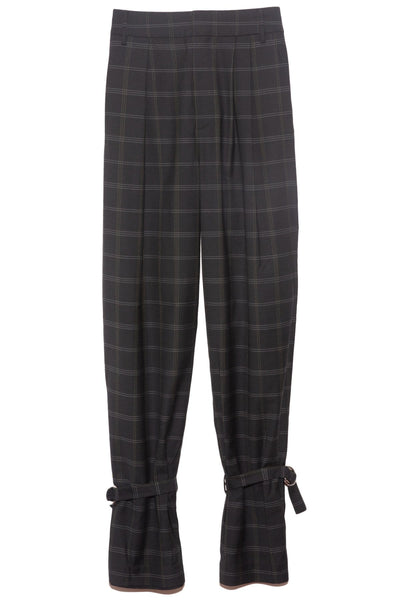 Finn Windowpane Stella Pleat Pant in Dark Navy/Loden Multi