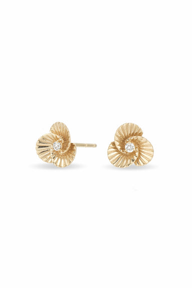 Tiny Diamond Flower Rays Stud Earrings in Yellow Gold
