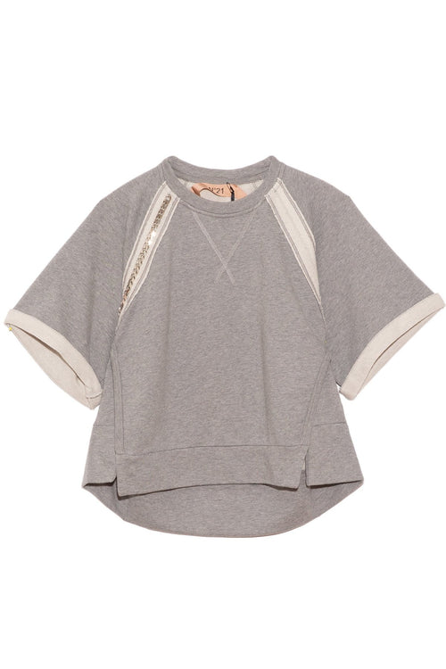 Short Sleeve Sweatshirt Top in Melange Grey