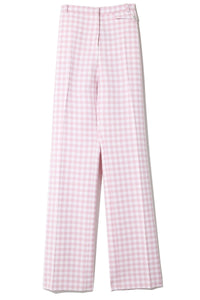 Check Wool Jacquard Pant in Pink Vichy