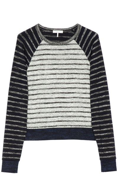The Knit Striped Pullover in Navy/Grey