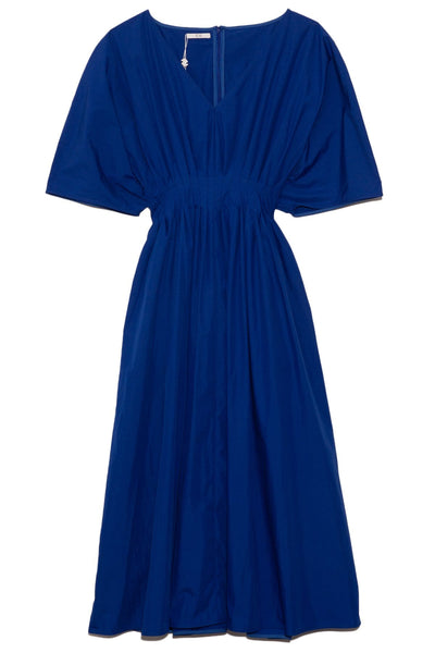 Tucked Waist V-Neck Dress in Cobalt