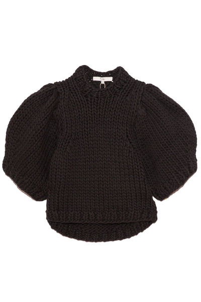 Deluxe Tubeyarn Sweater Mini Puff Pullover in Black
