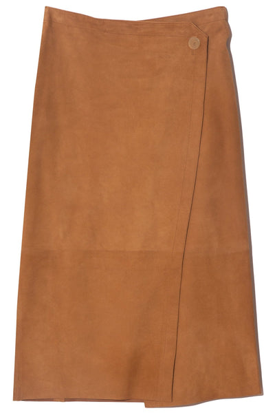 Suede Wrap Skirt in Caramello
