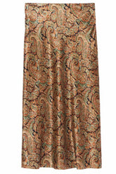 Leslie Skirt in Green/Rust Paisley