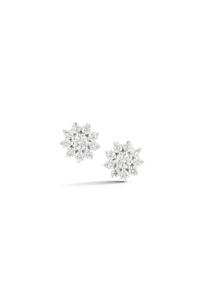Jennifer Yamina Pointed Flower Studs in White Gold