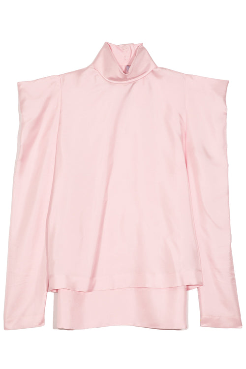 Puff Shoulder Turtleneck Blouse in Pink